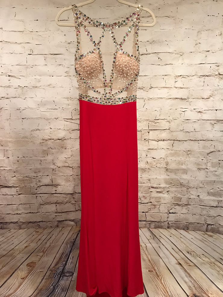 RED MESH LONG EVENING GOWN