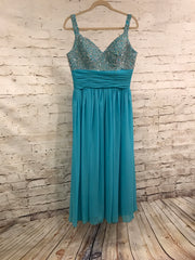 TURQUOISE BEADED TOP LONG EVENING GOWN