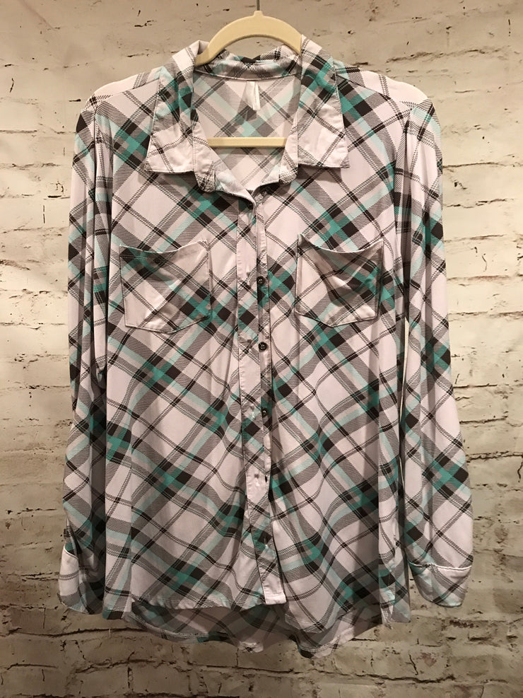WHITE/GREEN PLAID LONG SLEEVE TOP