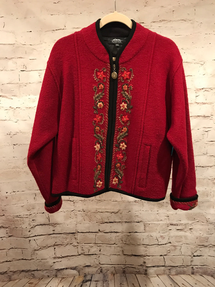 BURGUNDY BOILED WOOL JACKET