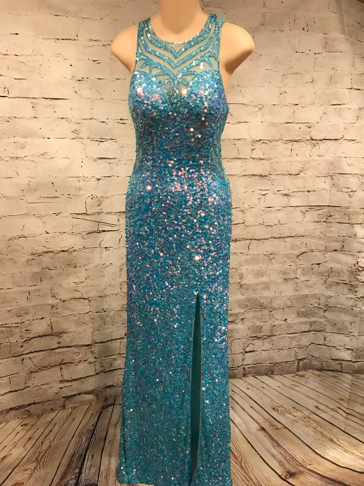 LIGHT BLUE FULL SEQUIN LONG DRESS