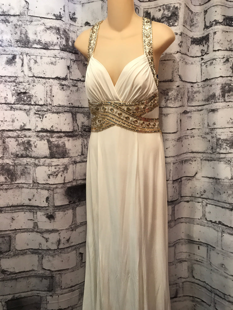 WHITE/GOLD LONG EVENING GOWN