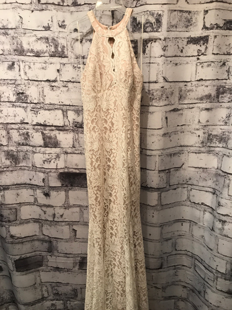 IVORY LACE LONG EVENING GOWN