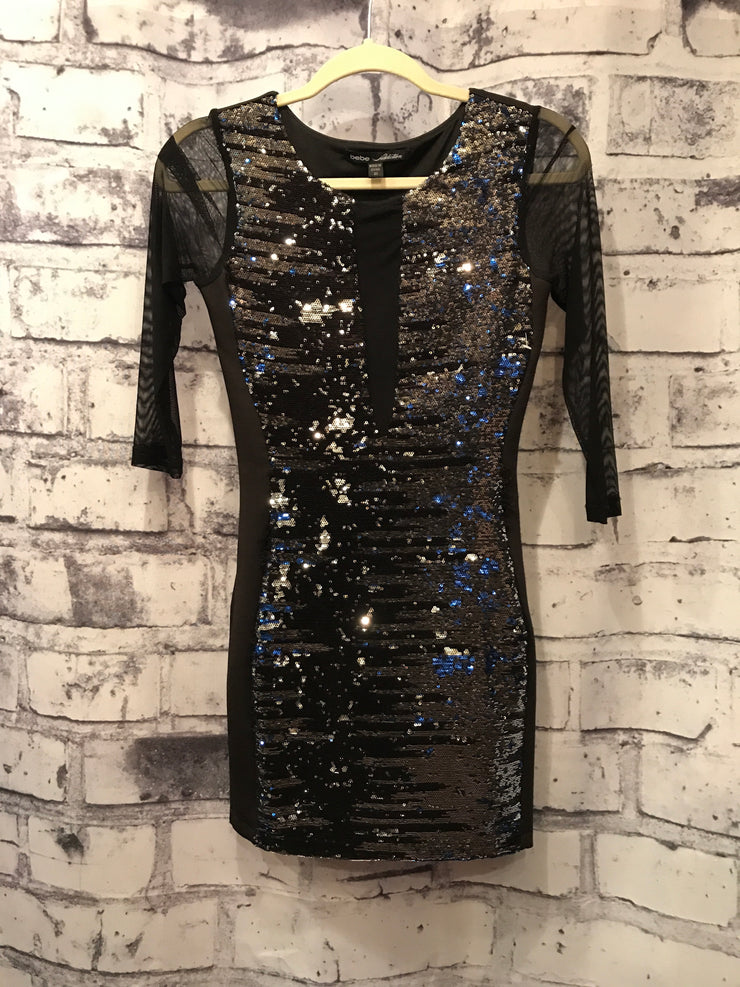 BLACK/SILVER SEQUIN DRESS
