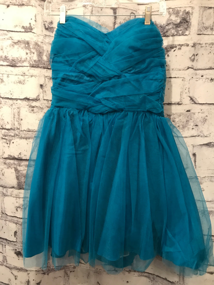 TURQUOISE POOFY SHORT DRESS