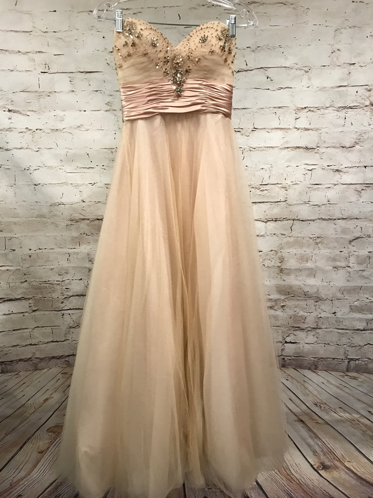 TAN  A LINE PRINCESS GOWN