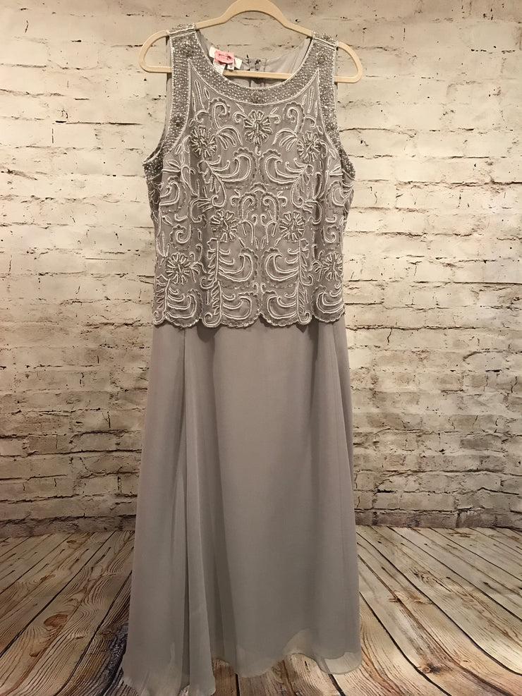 MOB - GRAY LONG BEADED DRESS