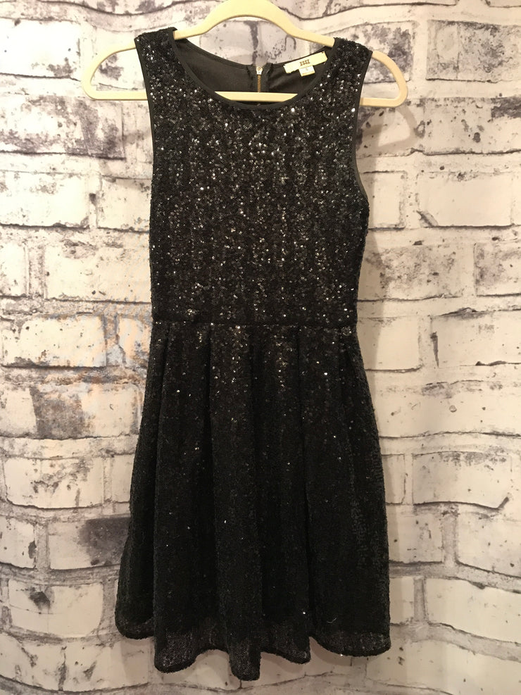 BLACK FULL SEQUIN SHORT DRESS