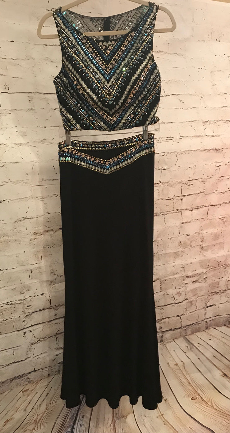 BLACK 2 PC. BEADED LONG DRESS