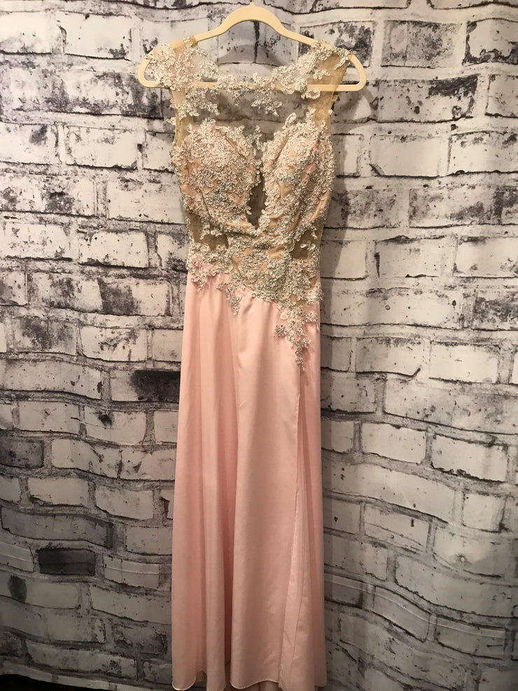LIGHT PINK MESH LONG EVENING GOWN