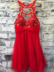 RED BEADED SHORT DRESS