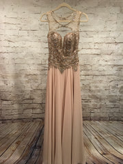 TAN BEADED LONG GOWN
