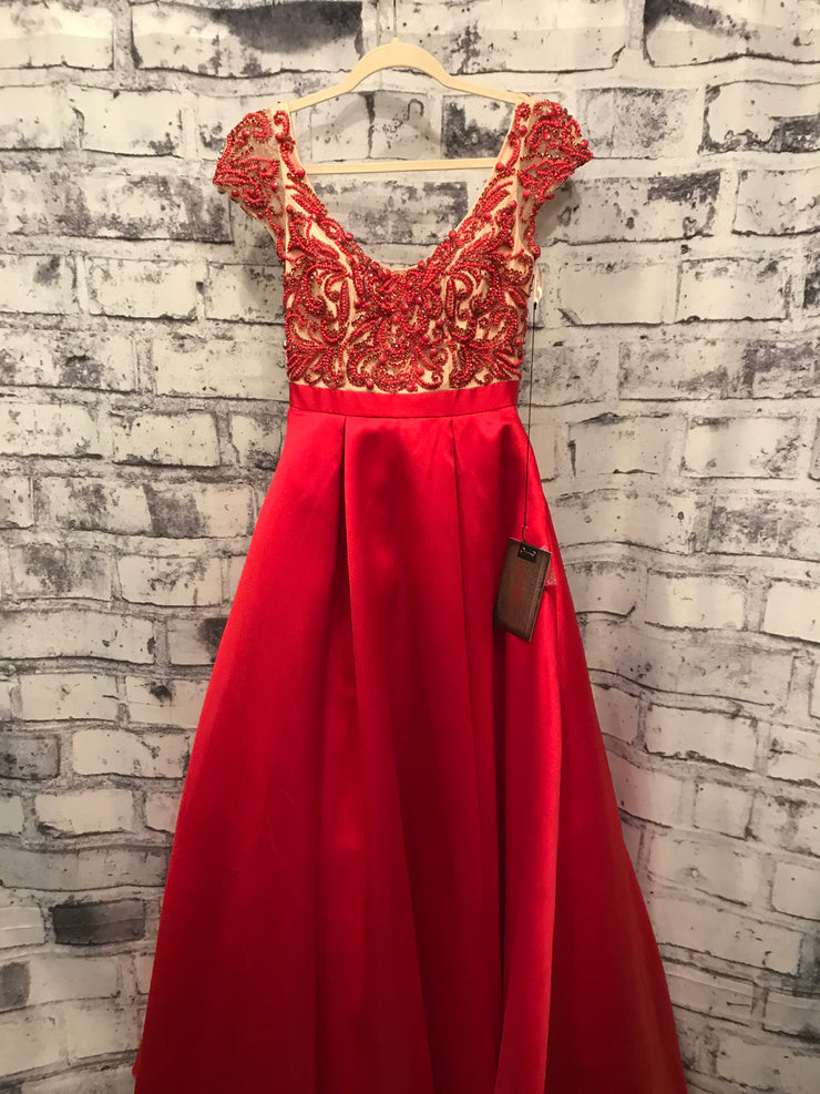 RED TAFETTA PRINCESS GOWN W/ POCKETS (NEW)
