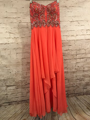 CORAL BEADED LONG EVENING GOWN