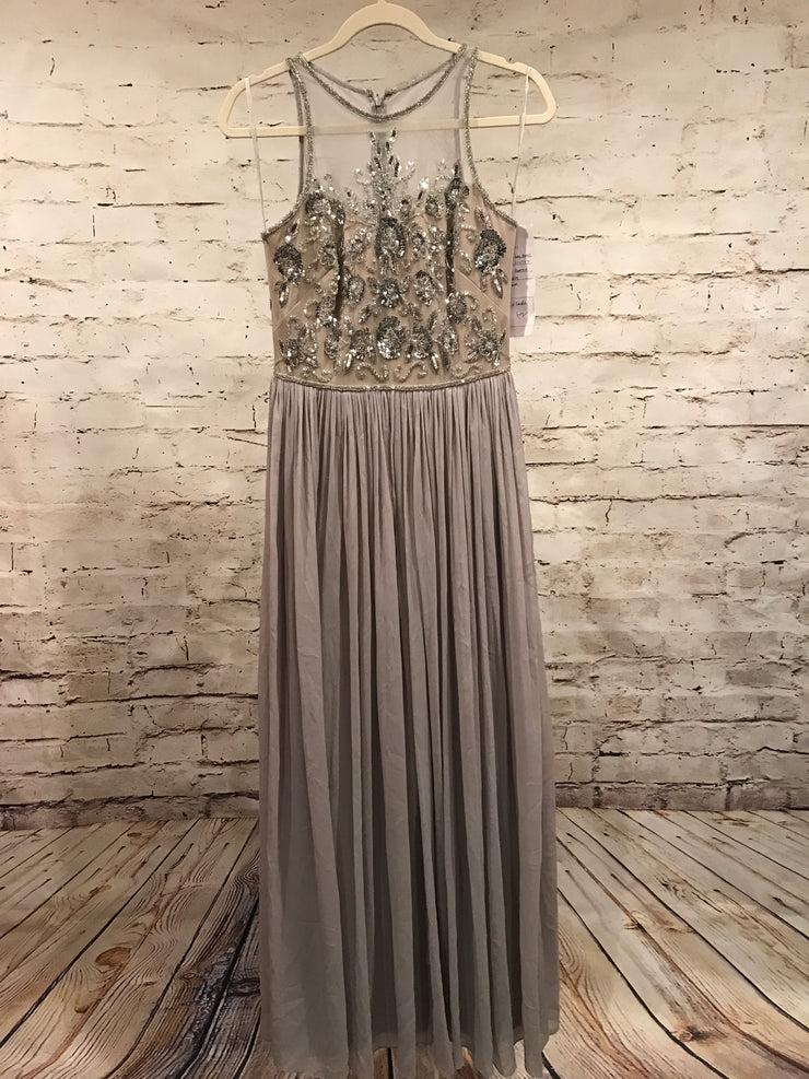 NEW-GRAY LONG EVENING GOWN