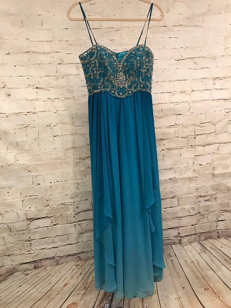 TEAL LONG EVENING GOWN