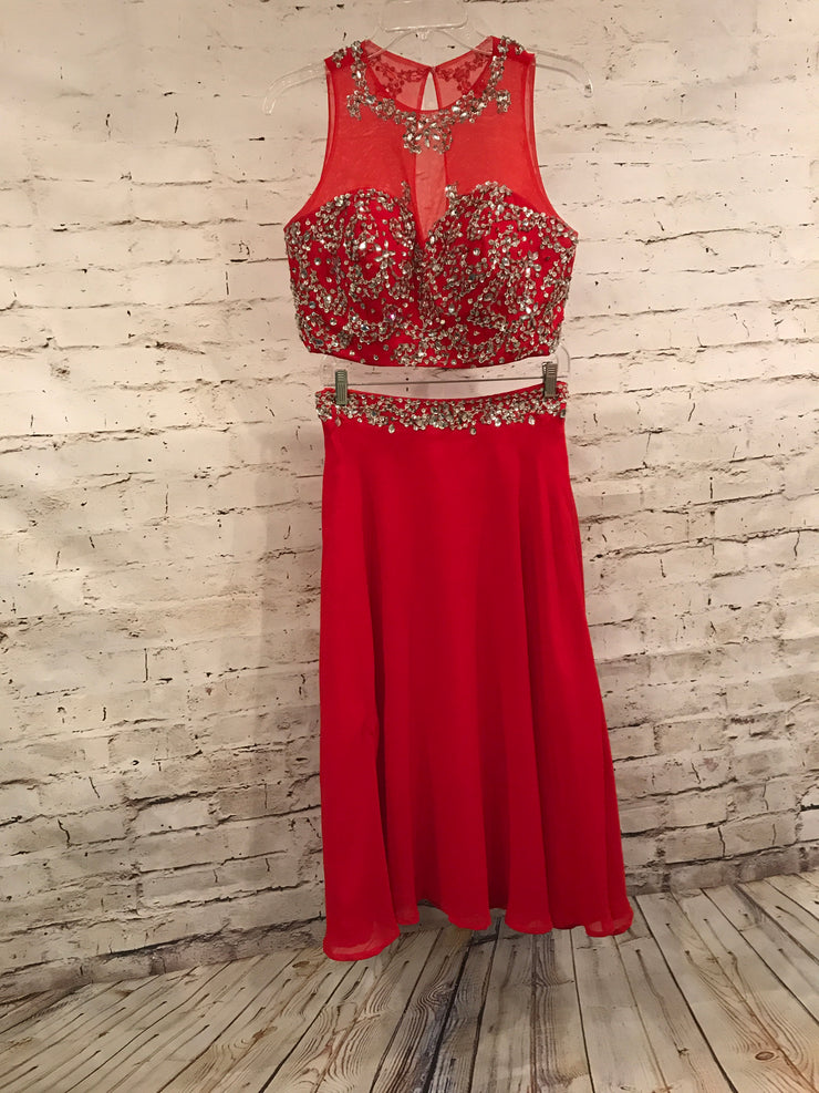 RED 2 PC. LONG DRESS SET