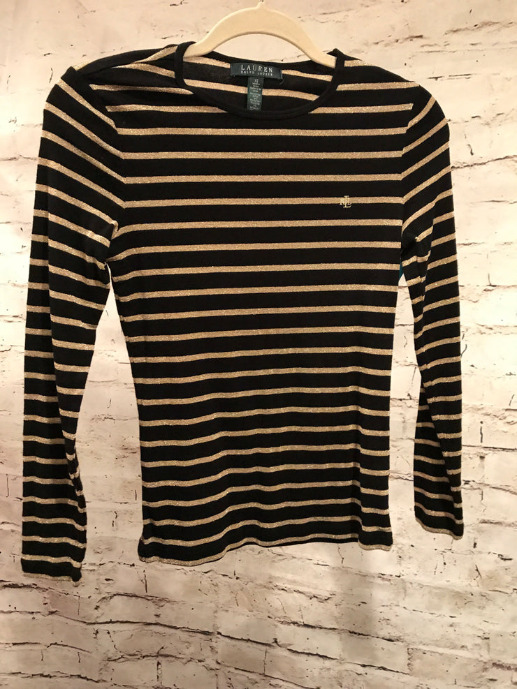 BLACK/GOLD STRIPED LONG SLEEVE TOP