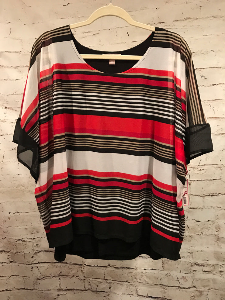 BLACK/WHITE/RED LONG SLEEVE TOP