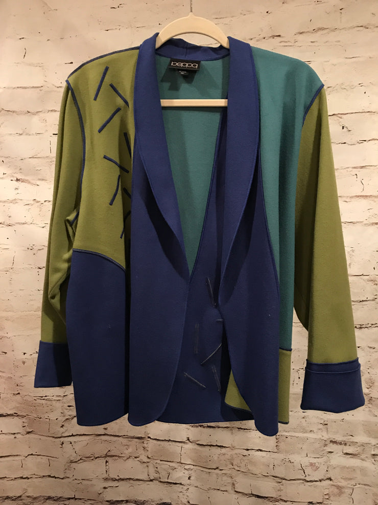 GREEN/BLUE 100% PURE WOOL JACKET