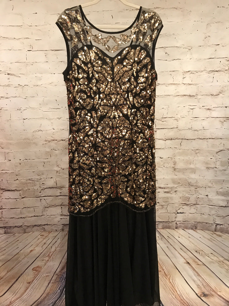 BLACK/GOLD SEQUIN LONG GOWN