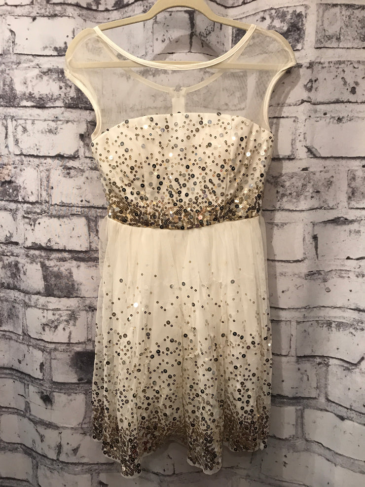 WHITE/GOLD SHORT DRESS