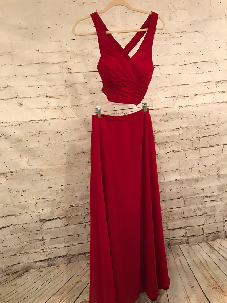 RED 2 PC LONG EVENING GOWN