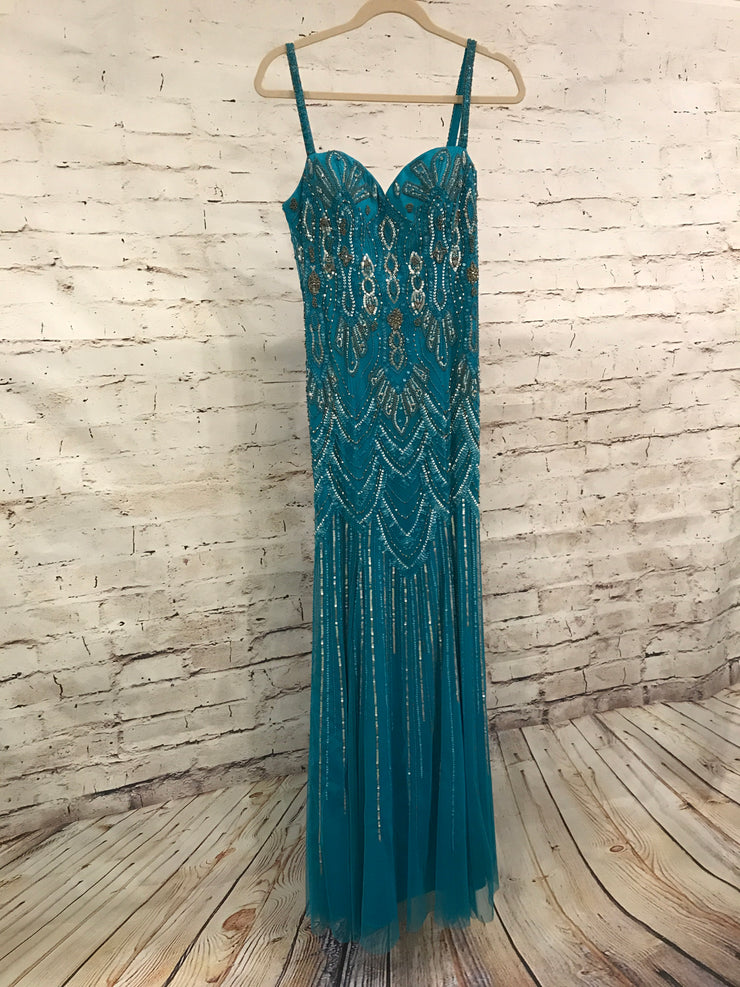 TURQUOISE BEADED LONG EVENING GOWN