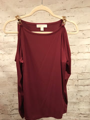 BURGUNDY LONG SLEEVE COLD SHOULDER TOP