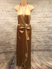 GOLD SILK LONG EVENING GOWN