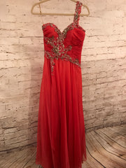 CORAL ONE SHOULDER LONG GOWN