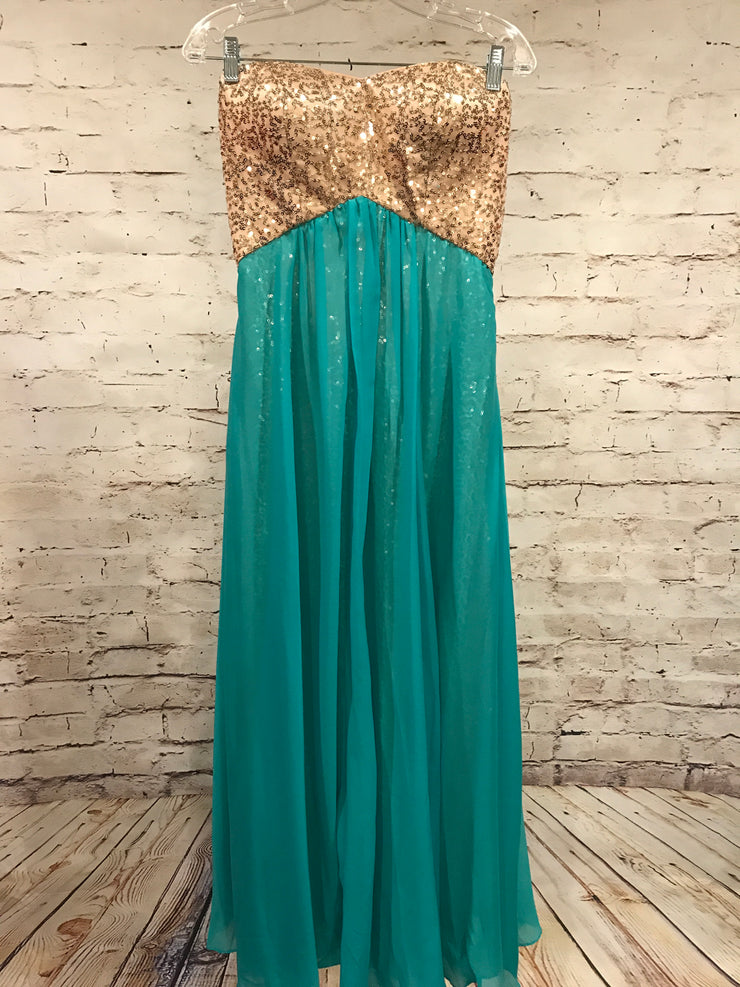 TURQUOISE/GOLD LONG EVENING GOWN