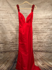 RED LONG EVENING GOWN W/TRAIN
