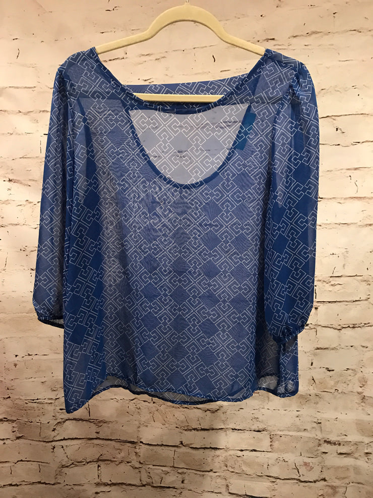 BLUE SHEER TOP BY ANTHROPOLOGIE