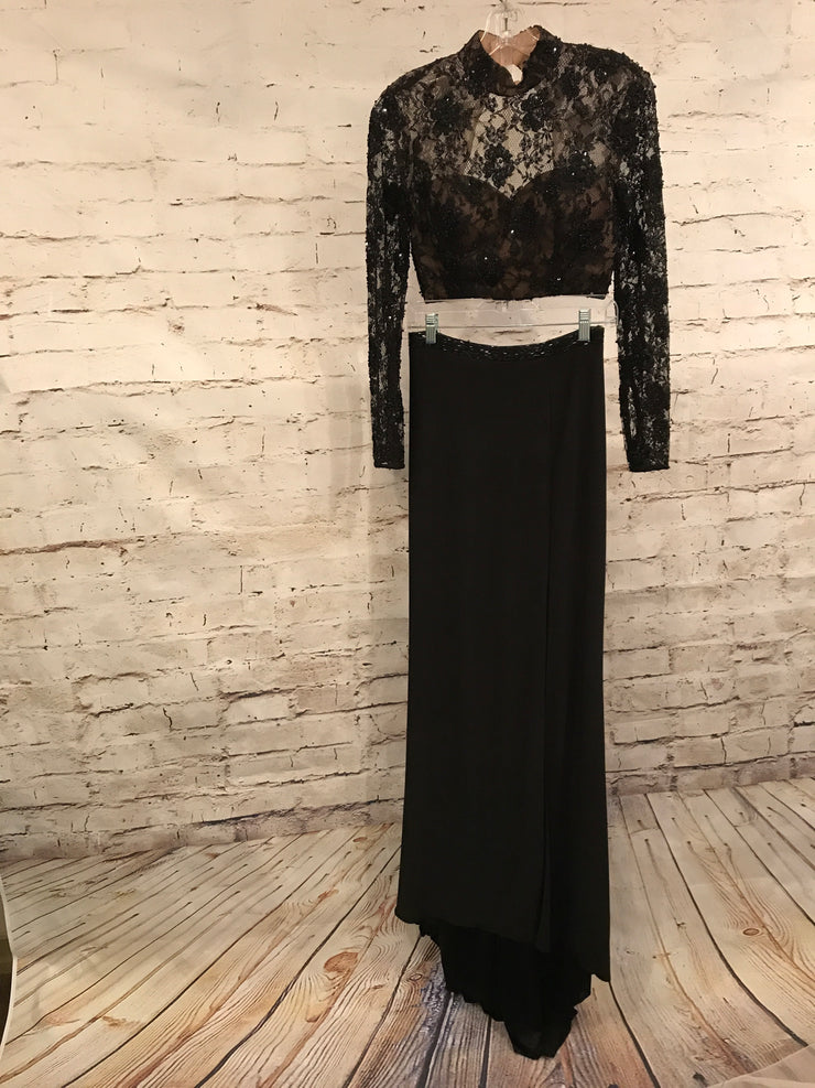 BLACK 2 PC. LONG GOWN SET