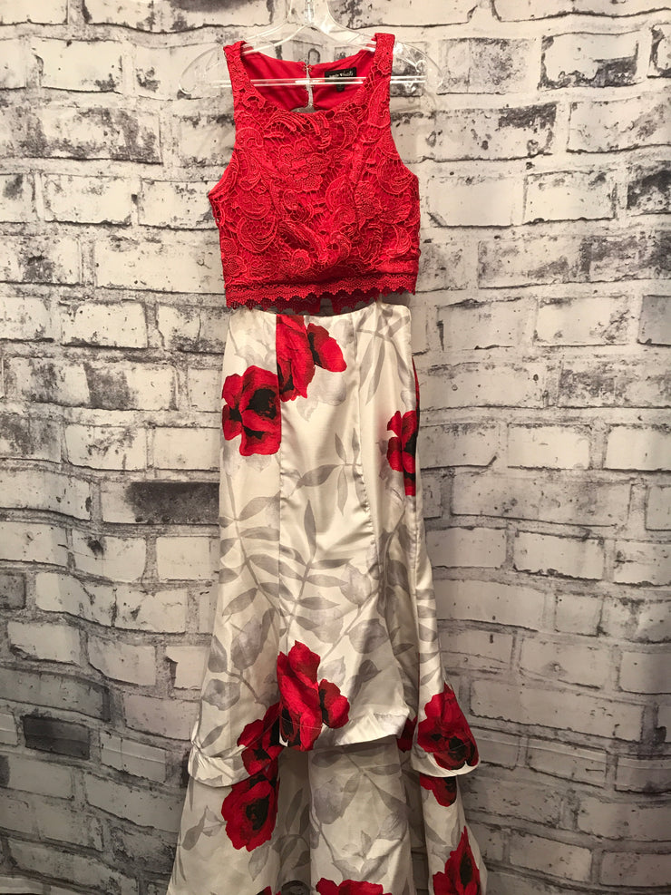 RED/WHITE FLORAL 2 PC. MERMAID