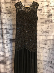 BLACK/SILVER SEQUIN LONG GOWN