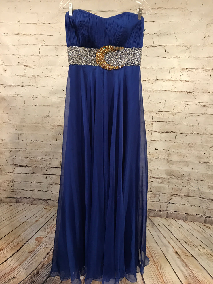 ROYAL BLUE FLOWY EVENING GOWN