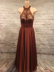 RUST BEADED LONG EVENING GOWN