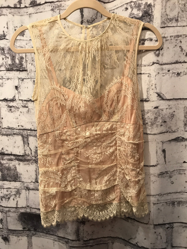 IVORY LACE SLEEVELESS TOP $120