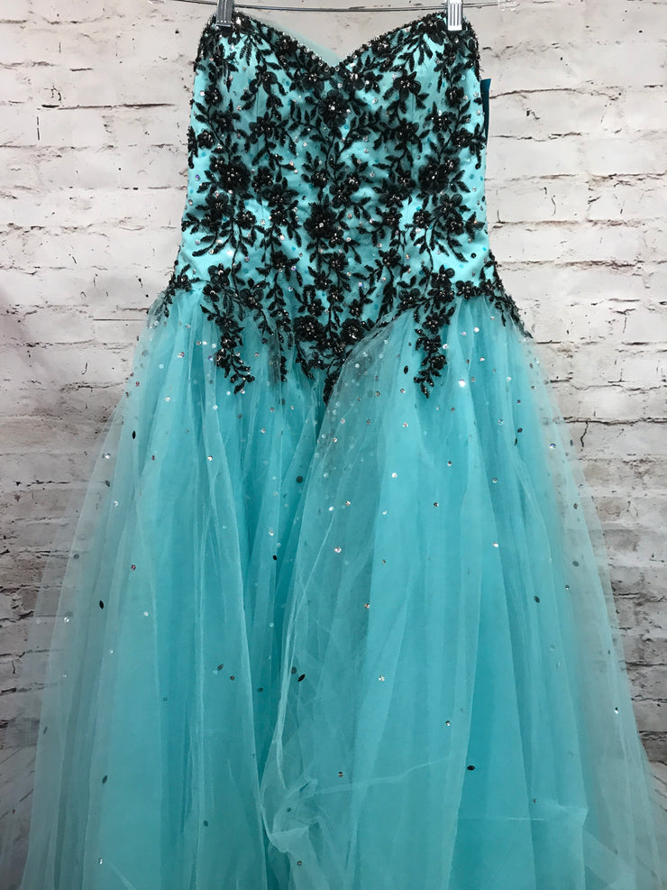 TEAL/BLACK PRINCESS GOWN