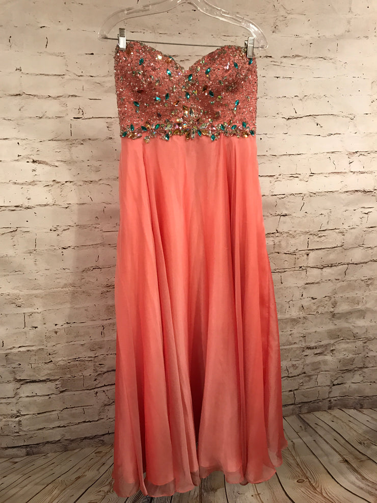 PEACH/PINK BEADED EVENING GOWN