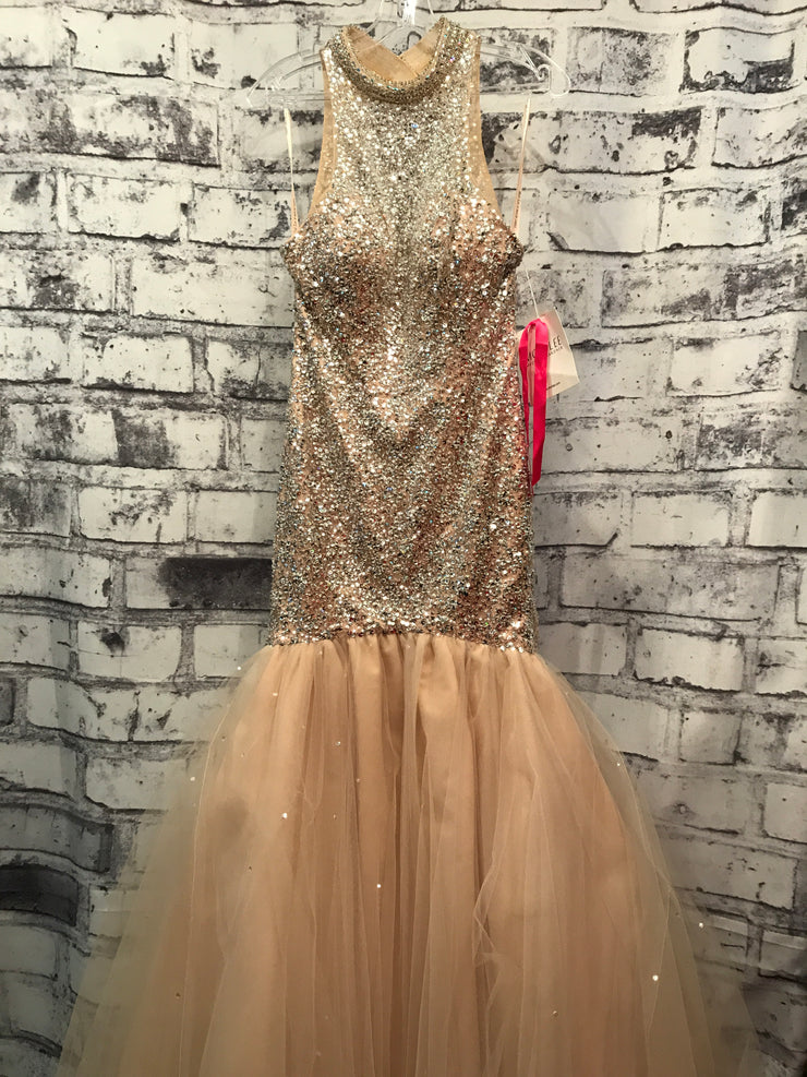 TAN/SILVER MERMAID GOWN (NEW)