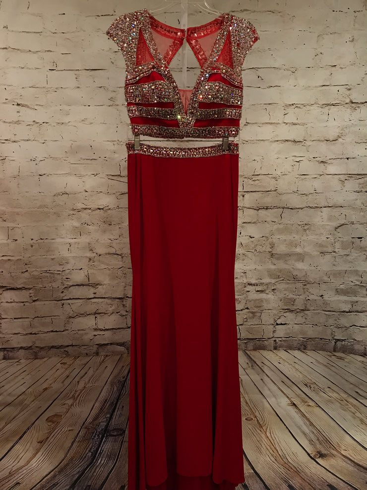 RED 2 PC. BEADED GOWN (NEW)