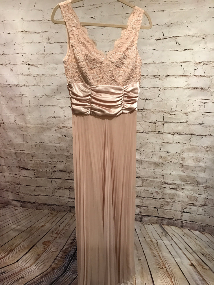 IVORY BEADED LONG EVENING GOWN