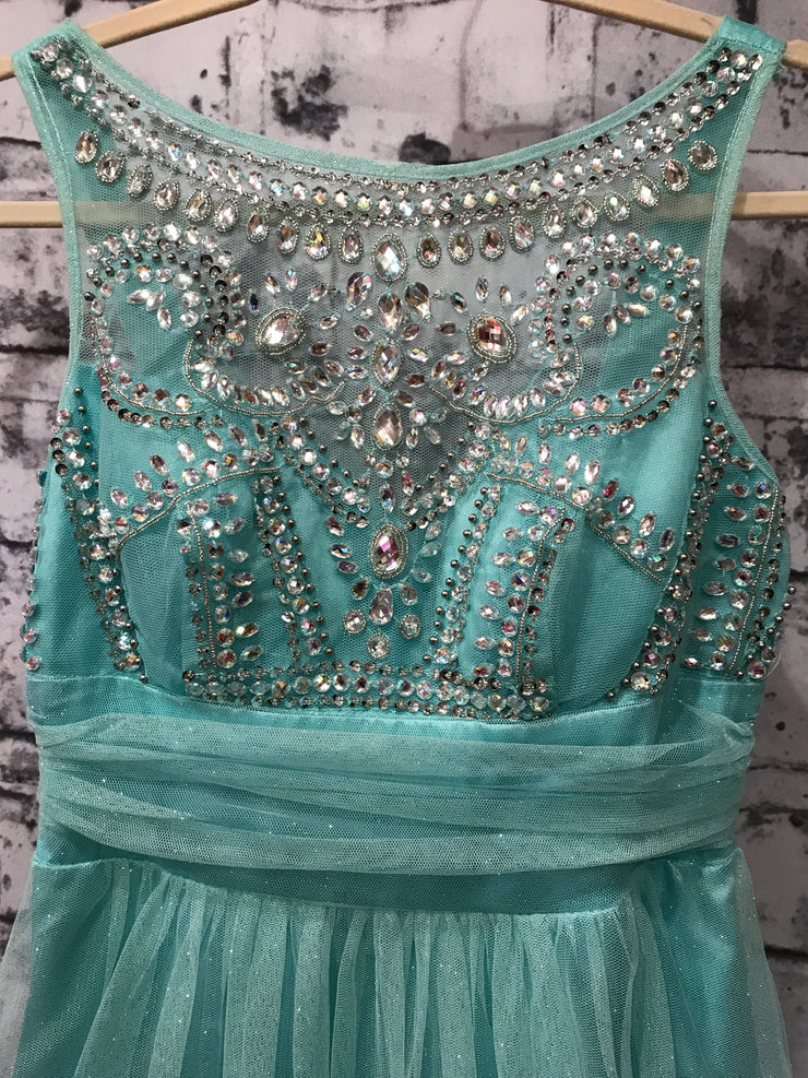 BLUE A LINE GOWN