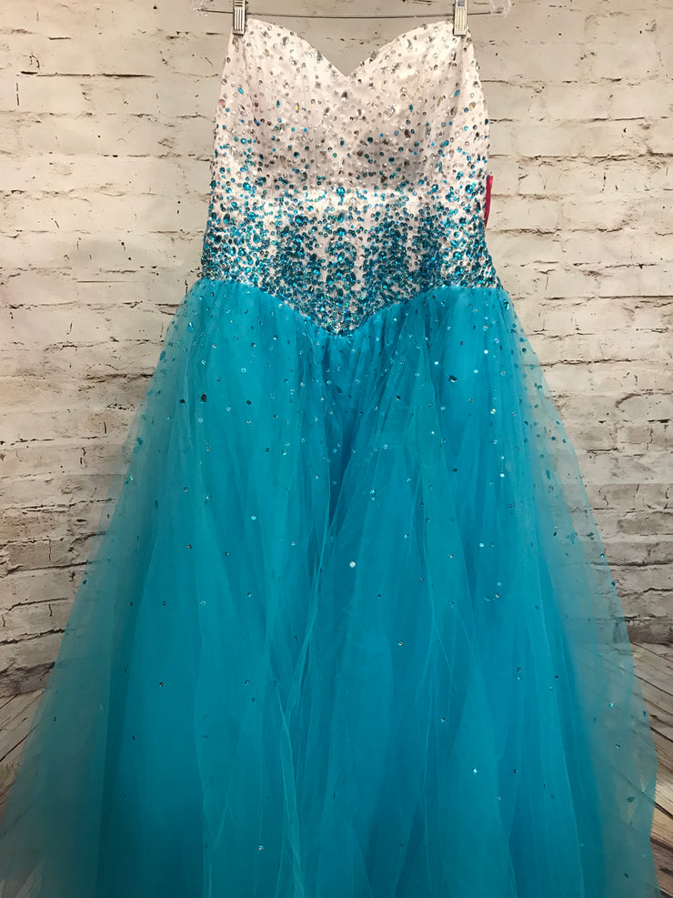 TURQUOISE/WHITE PRINCESS GOWN