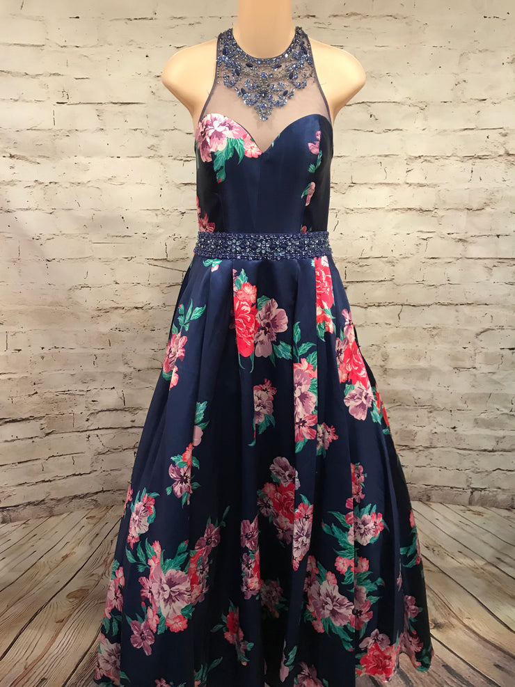 NAVY FLORAL HI NECK PRINCESS