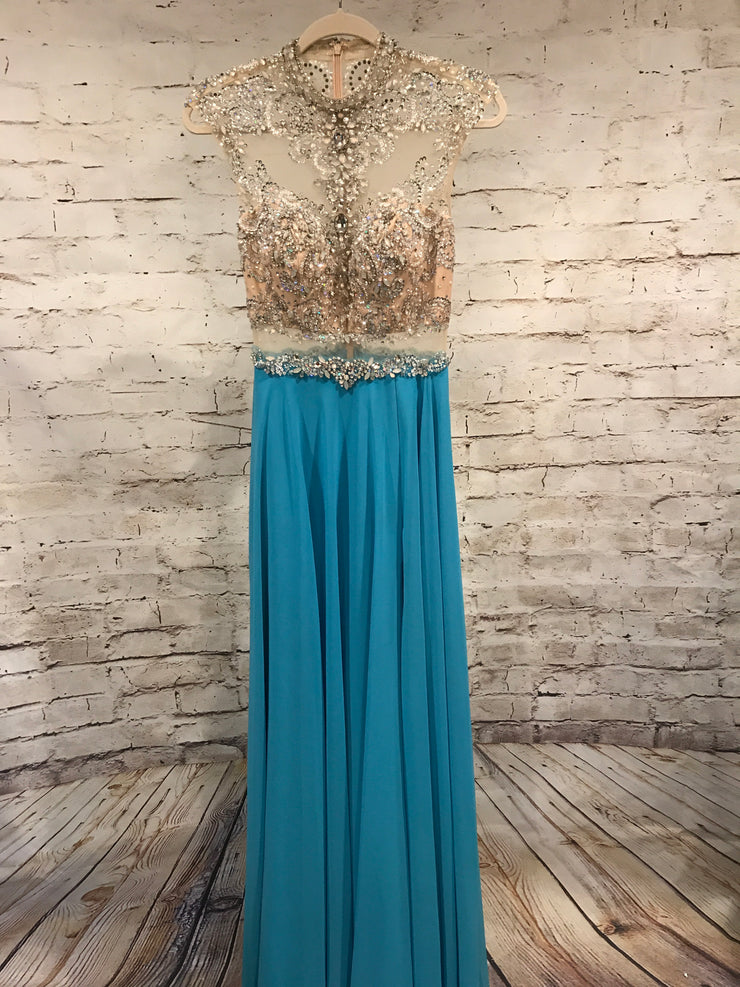 TURQUOISE/TAN LONG EVENING GOWN