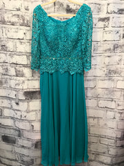 NEW - TURQUOISE LONG EVENING W/ REMOVABLE BELT